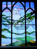 Stained glass picture of lighthouse Stock Photos