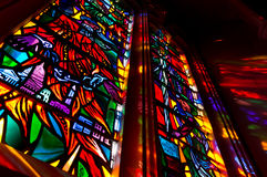 Stained glass window. Lights come through the stained glass window Stock Images