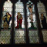 Stained glass window in Llandaff Cathedral, Cardiff, Wales Royalty Free Stock Image