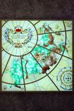 Stained glass window `map of the Russian Federation ` is located on a marble wall in the shopping center `Children`s world`. Moscow royalty free stock images