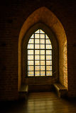 Stained-glass window in the medieval castle Stock Image