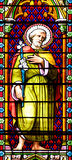 Stained glass window. MEZE, FRANCE –July 23, 2014: Apostle. Stained glass window in the Cathedral of Meze, South of France Stock Images