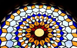 Stained glass window in the Mezquita cathedral. In Cordoba, Spain, Andalusia Stock Images