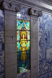 Stained glass window in a monastery in Portugal stock photos