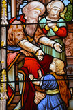 Stained glass window,. MONTREAL CANADA 03 30 2017 : Stained glass window, Christ Church Cathedral is an Anglican Gothic Revival cathedral in Montreal, Quebec royalty free stock images