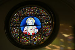 Stained Glass Window of Mother Mary. Our Lady of Sishi Church,Guangzhou, China stock photography