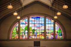 Stained glass window in Municipal Market in Sao Paulo - Brazil Royalty Free Stock Photography
