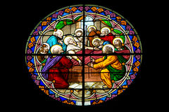 Stained Glass Window in The Nativity of Our Lady Cathedral ,Thailand Stock Photo