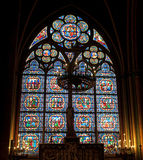 Stained glass window in Notre dame Stock Photo