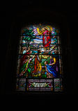 Stained glass window at Notre Dame Cathedral 2 stock photo