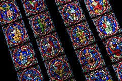 Stained Glass Window, Notre Dame Cathedral, Paris Royalty Free Stock Image