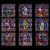 Stained glass window, Notre Dame Cathedral, Paris Stock Images