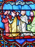 Stained glass window in the Notre Dame cathedral of Paris, Royalty Free Stock Photo