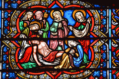 Stained glass window in the Notre Dame cathedral of Paris, Stock Photos
