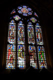 Stained Glass Window in the Notre Dame Cathedral. Stained Glass Windows in the treasury vault of the famed Notre Dame Cathedral Royalty Free Stock Photography