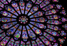 Stained-glass window of Notre Dame de Paris Stock Image