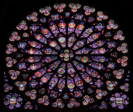 Stained-glass window of Notre Dame de Paris. France Royalty Free Stock Photo