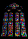 Stained glass window of the Notre Dame de Paris Royalty Free Stock Photos