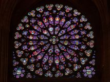 Stained glass window in Notre dame de Paris royalty free stock images