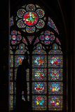 Stained glass window in Notre dame de Paris royalty free stock photography