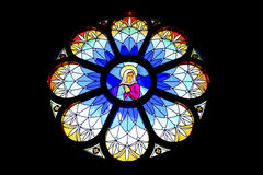 Stained glass window in old church Royalty Free Stock Photo