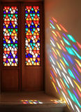 Stained-glass window. In palace Royalty Free Stock Image