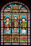 Stained glass window. PARIS, FRANCE - OCTOBER 19: Stained glass window in Church of Saint-Roch is a late Baroque church in Paris, dedicated to Saint Roch in Royalty Free Stock Images