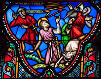 Stained glass window of Paulus falling of his horse. Stained Glass window depicting Saul (Paulus) falling of his horse at the road near Damascus, in the Royalty Free Stock Photos