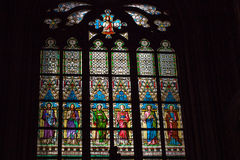 Stained Glass Window in Prague Stock Photo