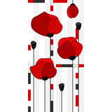 Stained glass window with red poppies. Vector stained glass window with red poppies Royalty Free Stock Photo