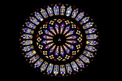 Stained glass window of the renaissance dome of Como at Lake Como in Lombardy, Italy Stock Images