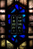 Stained Glass Window Representing The Ten Commandments Royalty Free Stock Photography