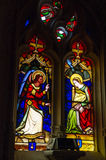 Stained glass window in Rocamadour stock photo