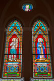 Stained glass window at the Roman Catholic Church Royalty Free Stock Images
