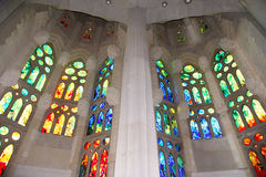 Stained glass window of the Sagrada Familia Royalty Free Stock Image