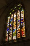 Stained glass window in Saint Barbara Cathedral in Kutna Hora Royalty Free Stock Photos