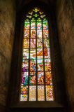 Stained glass window in Saint Barbara Cathedral in Kutna Hora Stock Photos