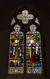 Stained glass window in Saint Barbara Church Stock Photos