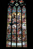 Stained-glass window in Saint Barbara's Church Stock Photos