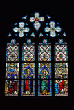 Stained glass window in Saint Hermes church with images of saints Royalty Free Stock Photography