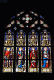 Stained glass window in Saint Hermes church. Stock Photos