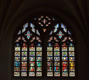 Stained glass window in Saint Hermes church Stock Photo