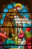 Stained glass window of Saint Joseph Church Stock Photo