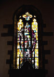 Stained glass window in Saint Martin Church in Steenkerque Stock Images