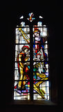 Stained glass window in Saint Martin Church Stock Images