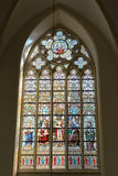 Stained glass window in Saint Salvator Cathedral Royalty Free Stock Photo