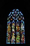 Stained glass window of Saint Sauveur Church. Dinan, Brittany/Bretagne, France Royalty Free Stock Photos