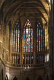 Stained-glass window in Saint Vitus Cathedral Stock Photos