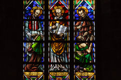 Stained glass window in Santa Maria del Mar church. Stock Photo