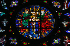Stained glass window in Santa Maria del Mar church. Royalty Free Stock Photos